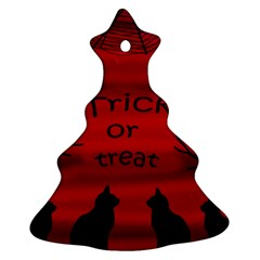 Trick Or Treat   Black Cat Christmas Tree Ornament (2 Sides) by Valentinaart