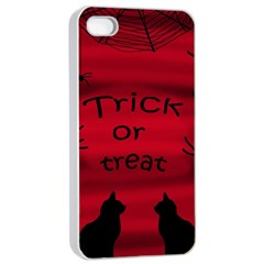 Trick Or Treat   Black Cat Apple Iphone 4/4s Seamless Case (white)