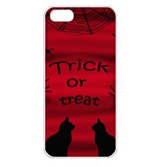 Trick Or Treat   Black Cat Apple Iphone 5 Seamless Case (white) by Valentinaart