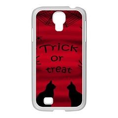Trick Or Treat   Black Cat Samsung Galaxy S4 I9500/ I9505 Case (white) by Valentinaart