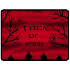 Trick Or Treat   Black Cat Double Sided Fleece Blanket (large)  by Valentinaart