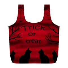 Trick Or Treat   Black Cat Full Print Recycle Bags (l)  by Valentinaart