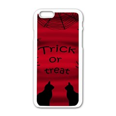 Trick Or Treat   Black Cat Apple Iphone 6/6s White Enamel Case by Valentinaart