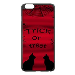 Trick Or Treat   Black Cat Apple Iphone 6 Plus/6s Plus Black Enamel Case by Valentinaart