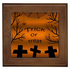 Trick Or Treat   Cemetery  Framed Tiles by Valentinaart