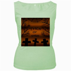 Trick Or Treat   Cemetery  Women s Green Tank Top by Valentinaart