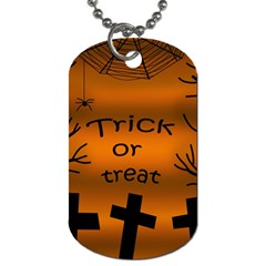 Trick Or Treat   Cemetery  Dog Tag (one Side) by Valentinaart