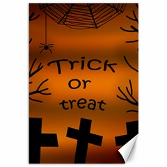 Trick Or Treat   Cemetery  Canvas 12  X 18   by Valentinaart