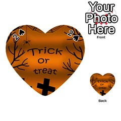 Trick Or Treat   Cemetery  Playing Cards 54 (heart)  by Valentinaart