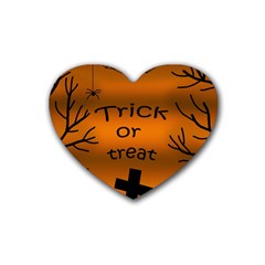 Trick Or Treat   Cemetery  Rubber Coaster (heart)  by Valentinaart