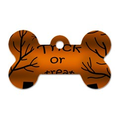 Trick Or Treat   Cemetery  Dog Tag Bone (two Sides) by Valentinaart