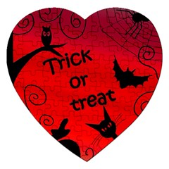 Trick Or Treat   Halloween Landscape Jigsaw Puzzle (heart) by Valentinaart