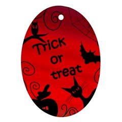 Trick Or Treat   Halloween Landscape Oval Ornament (two Sides) by Valentinaart