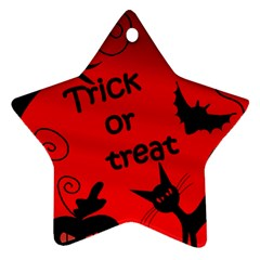 Trick Or Treat   Halloween Landscape Star Ornament (two Sides)  by Valentinaart