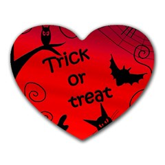 Trick Or Treat   Halloween Landscape Heart Mousepads by Valentinaart