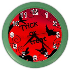 Trick Or Treat   Halloween Landscape Color Wall Clocks by Valentinaart