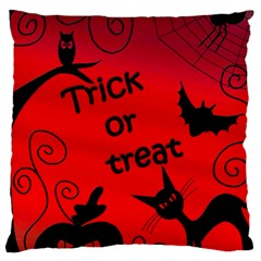 Trick Or Treat   Halloween Landscape Large Cushion Case (one Side) by Valentinaart