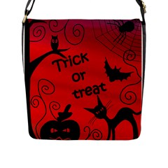 Trick Or Treat   Halloween Landscape Flap Messenger Bag (l)  by Valentinaart