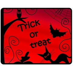 Trick Or Treat - Halloween Landscape Double Sided Fleece Blanket (medium)  by Valentinaart