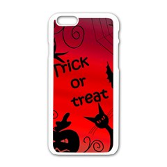 Trick Or Treat   Halloween Landscape Apple Iphone 6/6s White Enamel Case by Valentinaart