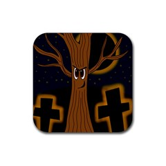 Halloween   Cemetery Evil Tree Rubber Coaster (square)  by Valentinaart