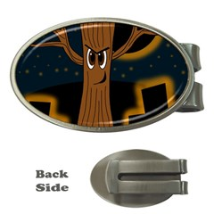 Halloween   Cemetery Evil Tree Money Clips (oval)  by Valentinaart