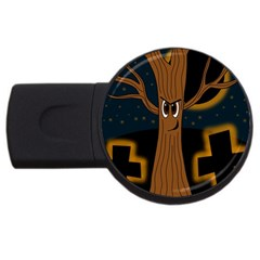 Halloween   Cemetery Evil Tree Usb Flash Drive Round (2 Gb)  by Valentinaart