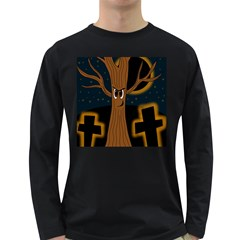 Halloween   Cemetery Evil Tree Long Sleeve Dark T Shirts by Valentinaart