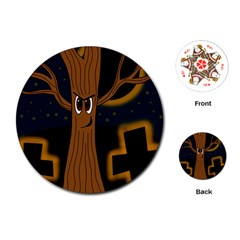 Halloween   Cemetery Evil Tree Playing Cards (round)  by Valentinaart