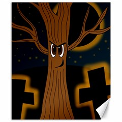 Halloween   Cemetery Evil Tree Canvas 8  X 10  by Valentinaart