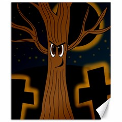 Halloween   Cemetery Evil Tree Canvas 20  X 24   by Valentinaart