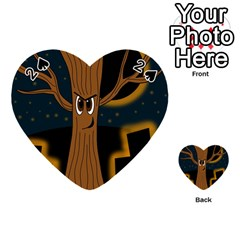 Halloween   Cemetery Evil Tree Playing Cards 54 (heart)  by Valentinaart