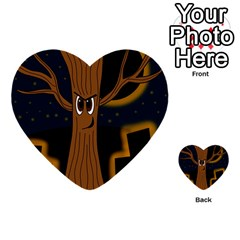Halloween   Cemetery Evil Tree Multi Purpose Cards (heart)  by Valentinaart