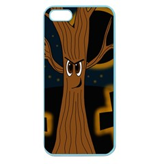 Halloween   Cemetery Evil Tree Apple Seamless Iphone 5 Case (color) by Valentinaart