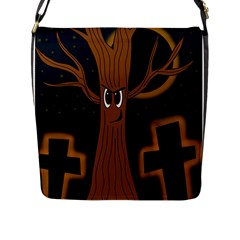 Halloween   Cemetery Evil Tree Flap Messenger Bag (l)  by Valentinaart