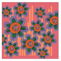 Colorful Floral Dream Large Satin Scarf (Square)