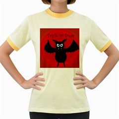 Halloween Bat Women s Fitted Ringer T Shirts by Valentinaart