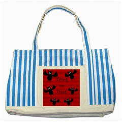 Halloween Bats  Striped Blue Tote Bag by Valentinaart