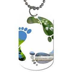 Footprint Recycle Sign Dog Tag (one Side)