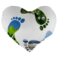 Footprint Recycle Sign Large 19  Premium Flano Heart Shape Cushions