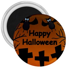 Happy Halloween   Bats On The Cemetery 3  Magnets by Valentinaart