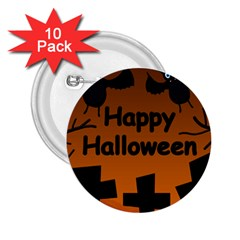 Happy Halloween   Bats On The Cemetery 2 25  Buttons (10 Pack)  by Valentinaart