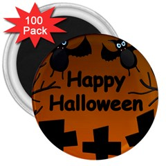 Happy Halloween   Bats On The Cemetery 3  Magnets (100 Pack) by Valentinaart
