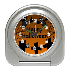 Happy Halloween   Bats On The Cemetery Travel Alarm Clocks by Valentinaart