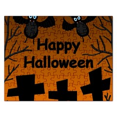 Happy Halloween   Bats On The Cemetery Rectangular Jigsaw Puzzl by Valentinaart