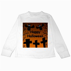Happy Halloween   Bats On The Cemetery Kids Long Sleeve T Shirts by Valentinaart