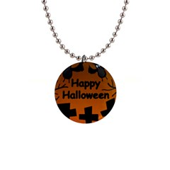Happy Halloween   Bats On The Cemetery Button Necklaces by Valentinaart