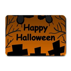 Happy Halloween   Bats On The Cemetery Small Doormat  by Valentinaart