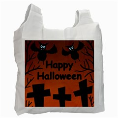 Happy Halloween   Bats On The Cemetery Recycle Bag (one Side) by Valentinaart