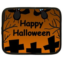 Happy Halloween   Bats On The Cemetery Netbook Case (xl)  by Valentinaart